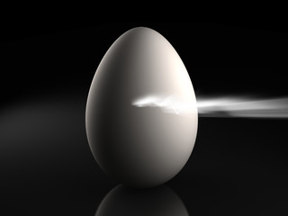 3d image of a egg getting broken by a light.