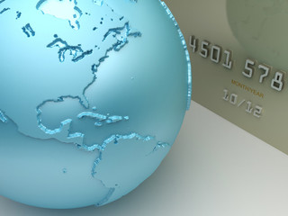 Payment concept. Credit card with a world map.