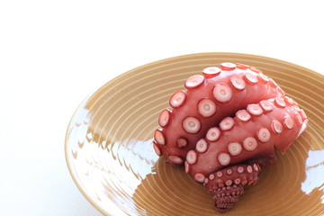 boiled octopus on dish for Japanese Sashimi food ingredient