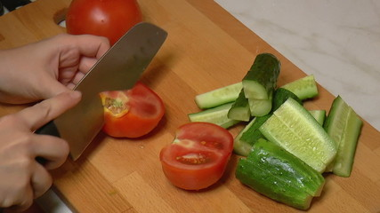 Red Tomatoes Cut into Slices for Cooking, closeup