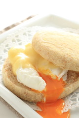 poached egg and chesse in English muffin for gourmet sandwich