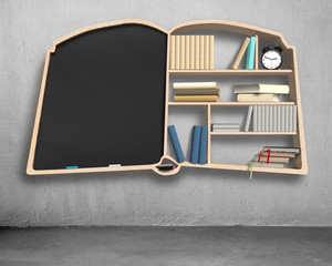 Bookshelf and blackboard in book shape