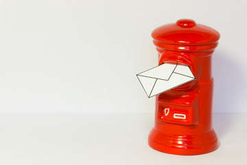 Pillar-box with a letter