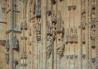 Architectural details of New cathedral in Salamanca, Spain