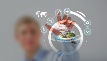 Unrecognizable person working holographic city plan