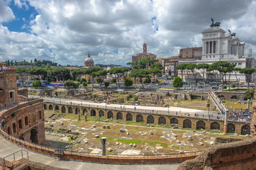 Trajan's market and Roman forums in Rome, Italy