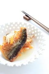 deep fried pacific saury marinated in vegetable and vinegar