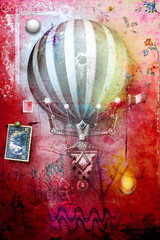 Grunge postcard with hot air balloon