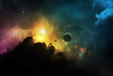 Fantasy space nebula with planet