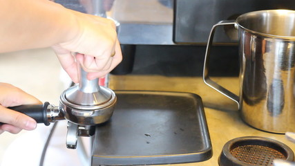Barista Tamping Fresh Ground Coffee, Stock Video