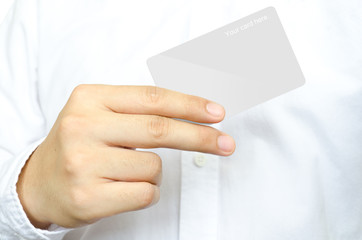 Business man 's showing the blank card
