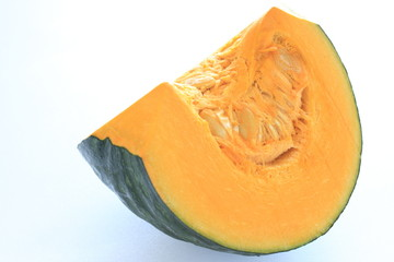 Japanese pumpkin chopped on white background