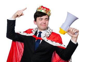 Man with crown and megaphone isolated on white