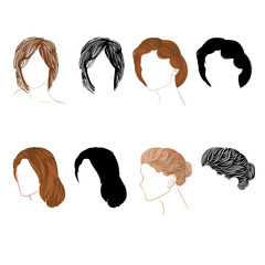 Set hair  natural and silhouette Vector Illustration