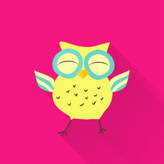 Yellow flat owl over pink