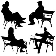 people on benches