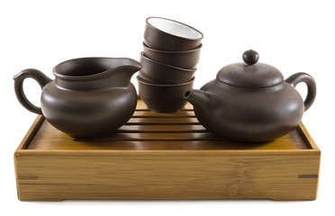 Set for dishes for china tea ceremony on tray