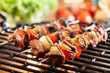 canvas print picture - Grilling shashlik on barbecue grill