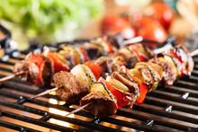 "Постер, картина, фотообои ""Grilling shashlik on barbecue grill"""