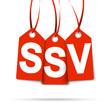 Drei Anhänger mit SSV rot