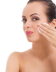 woman  skin care woman removing makeup