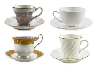 Set of various cups isolated on white