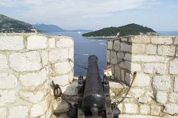 Black Cannon Aimed at the Sea
