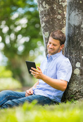 Man reading E-Book