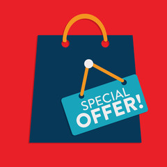 Special Offer Shopping Bag Flat Style Label