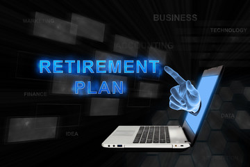 pointing hand retirement plan with digital background