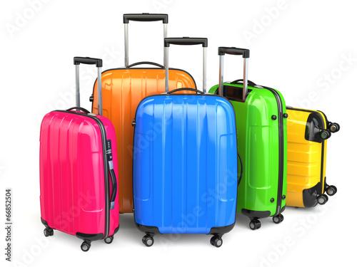 Luggage. Colorful suitcases on white isolated background. - 66852504