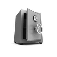 Security metal safe on white background