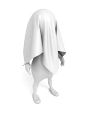 3d person covered by white cloth