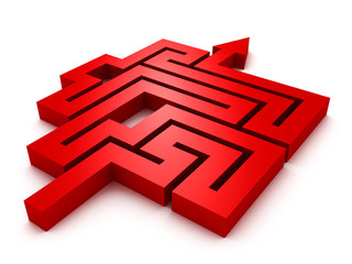 labyrinth red arrow on white background