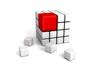 different red cube on white backround