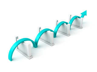 blue success arrow overcome barriers
