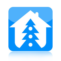 Christmas tree and family home icon