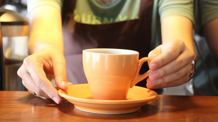 Barista In Coffee Shop Serving Cup Of Espresso, Stock Video