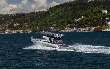 yacht on the Bosphorus, Turkey