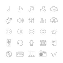 music icon set line version, vector eps10