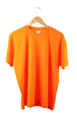 Orange t-shirt on hanger isolated on white