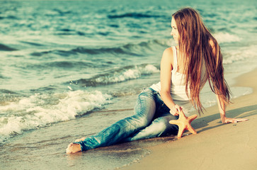 beautiful girl on beach