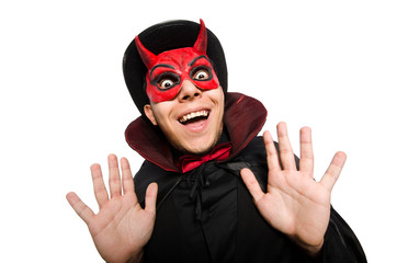 Funny devil isolated on the white background