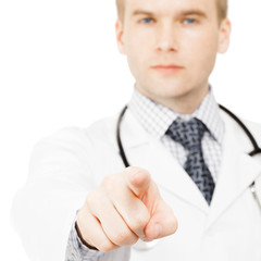 Doctor pointing on viewer with his index finger - 1 to 1 ratio