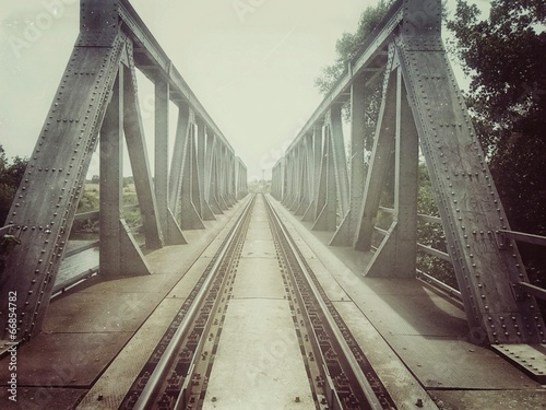 Retro train bridge - 66854782