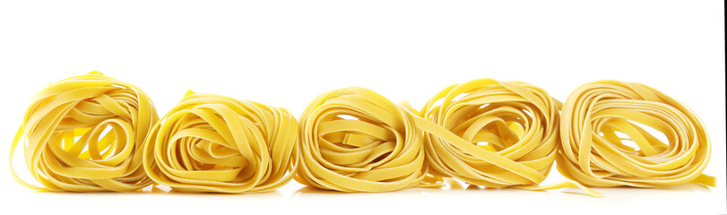 Raw homemade pasta, isolated on white