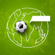 Soccer ball on map world design green background