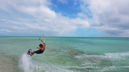 kite surfing. fun in the ocean, extreme sport