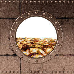 porthole - dollar coins - ocean of money