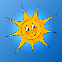 Illustration of yellow sun with smile on blue sky